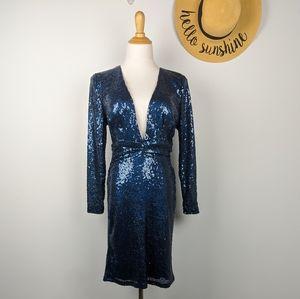 Low Cut Mermaid Iridescent Sequin Dress Large